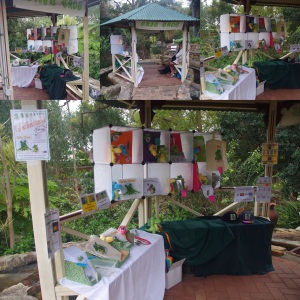 a collage of the Cric Croc merchandise at Romancing of the Stone Garden